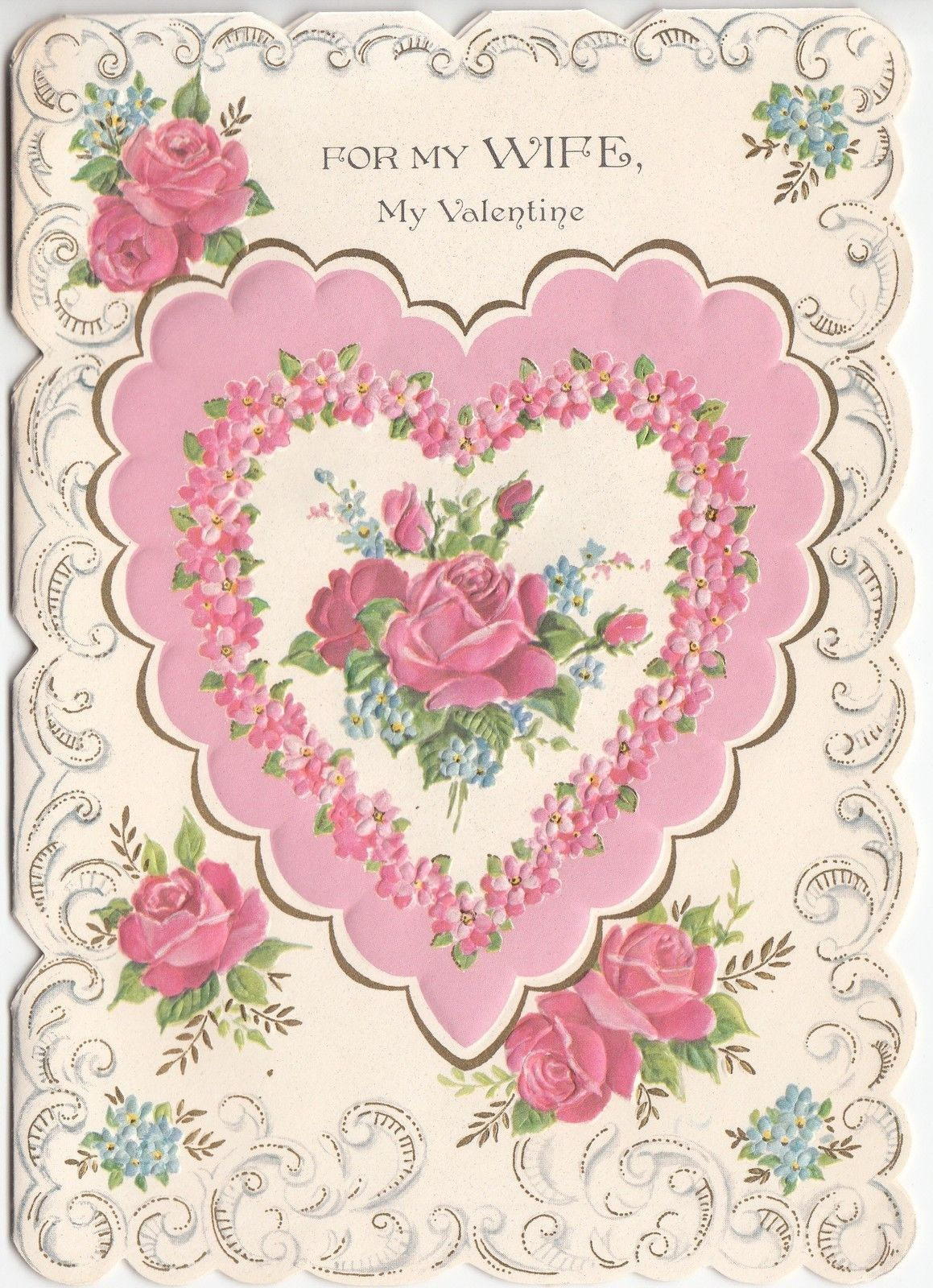 Vintage Norcross Embossed Heart Roses Flowers Pink Wife Valentine Greeting Card | eBay