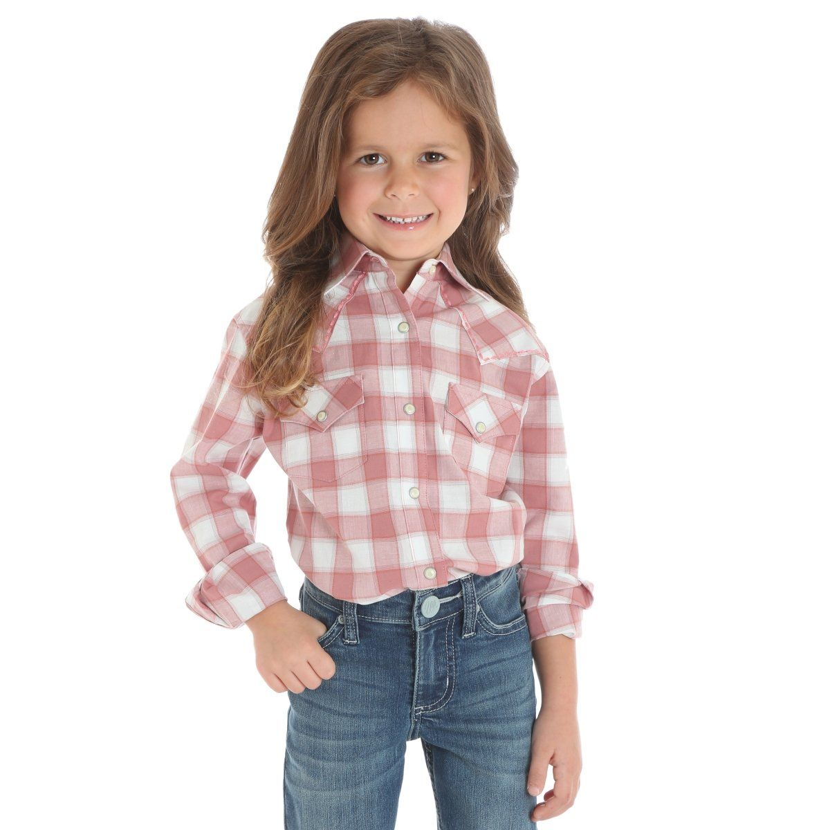 5e74c595 Wrangler Girl's Red & White Plaid Snap Up Western Shirt GW7213M ...