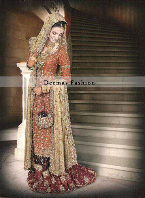 Rust Pure Chiffon Shirt Has Been Embroidered With Diffe Types Of Motifs Golden Tta Brown Maroon Gharara