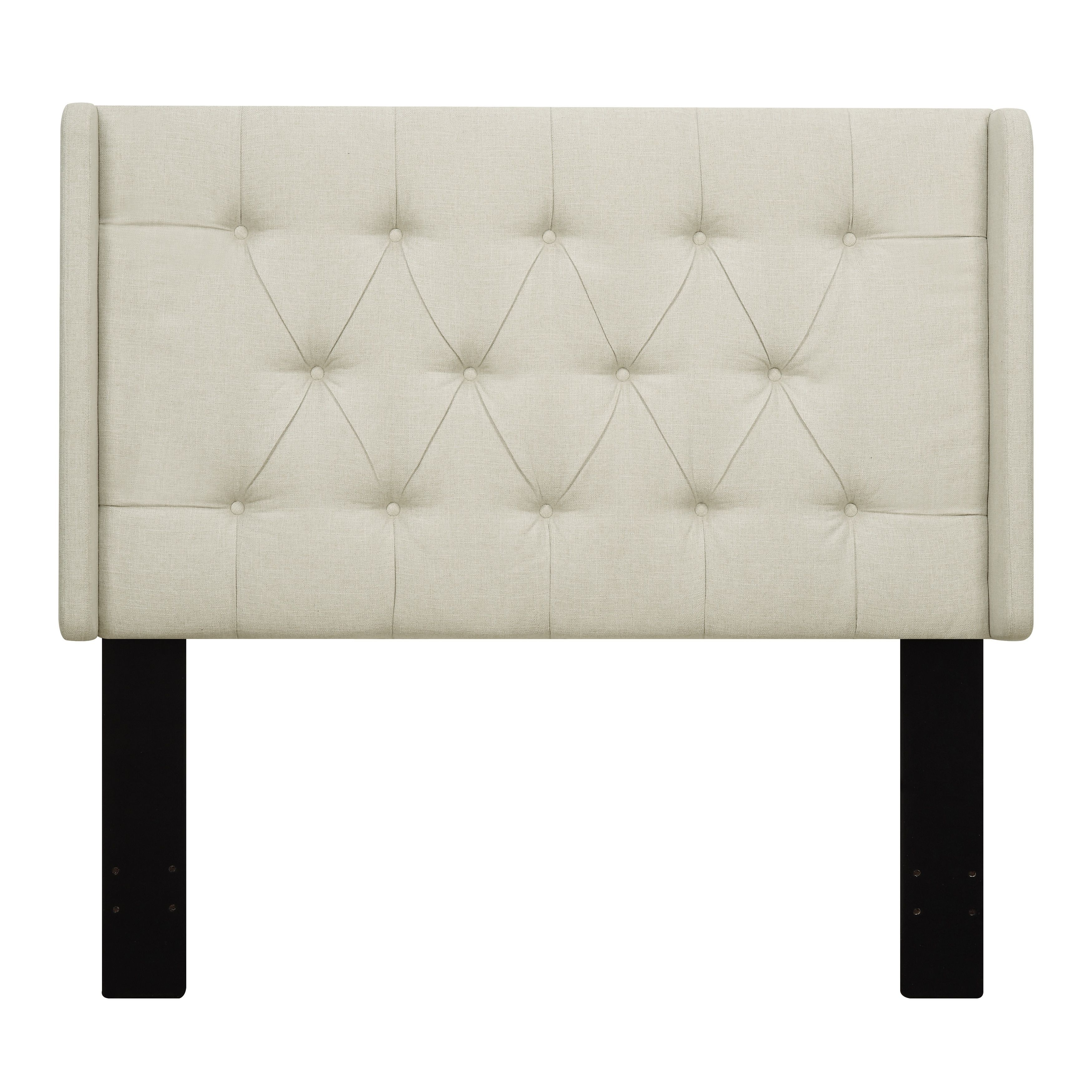 Beige Fabric King/California King Upholstered Wingback Tufted Headboard, White