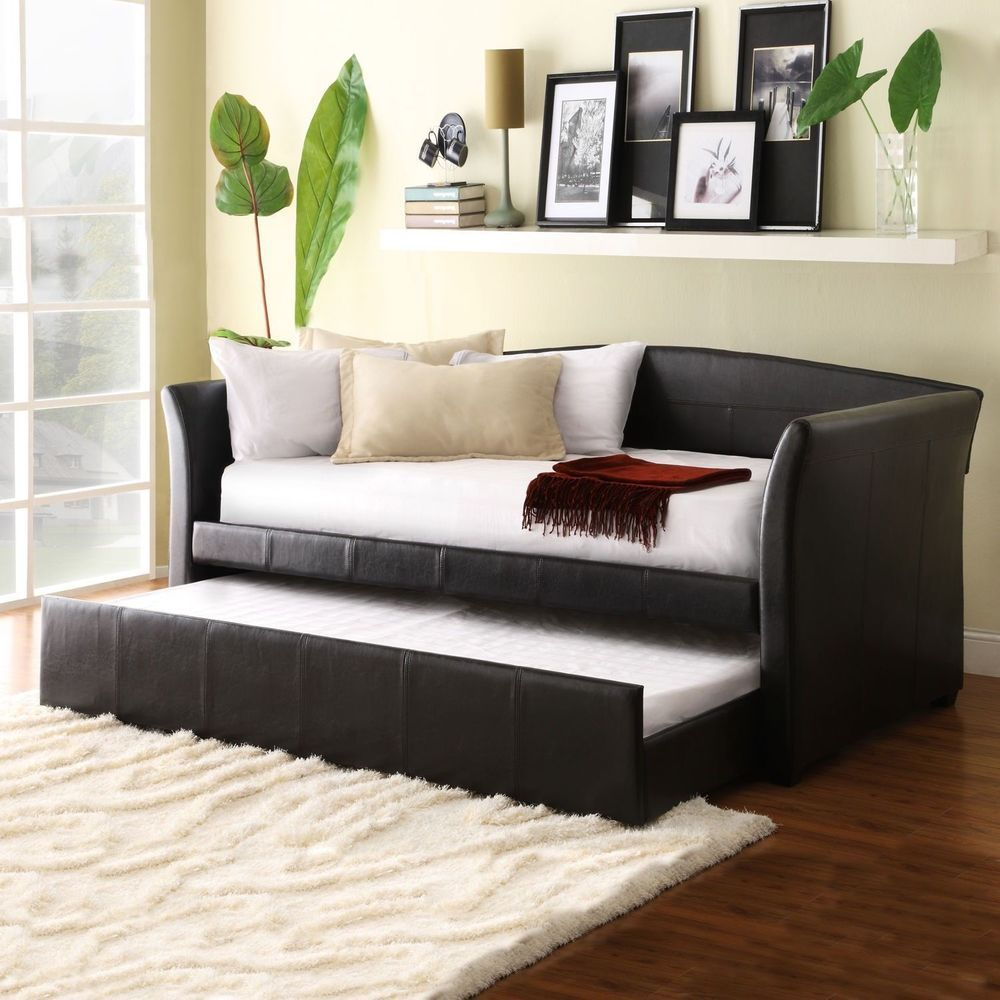 Brown Upholstered Faux Leather Daybed Sofa Couch Sleeper W Trundle Bed Loveseat In Sofas Loveseats Chaises Ebay