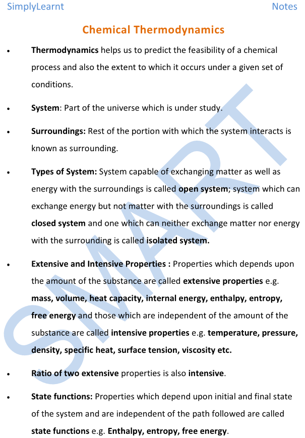 Notes and Important Points on Chemical Thermodynamics And Energetics