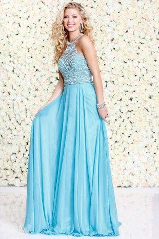Aqua Embellish A-Line Prom Dress 4038