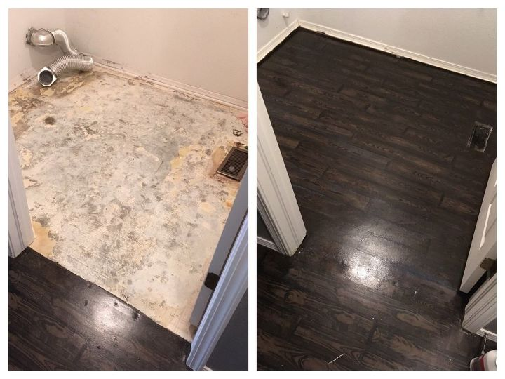 How To Transform Your Old Carpet And Linoleum Floor To Faux Wood In 2020 Faux Wood Flooring Linoleum Flooring Painted Wood Floors