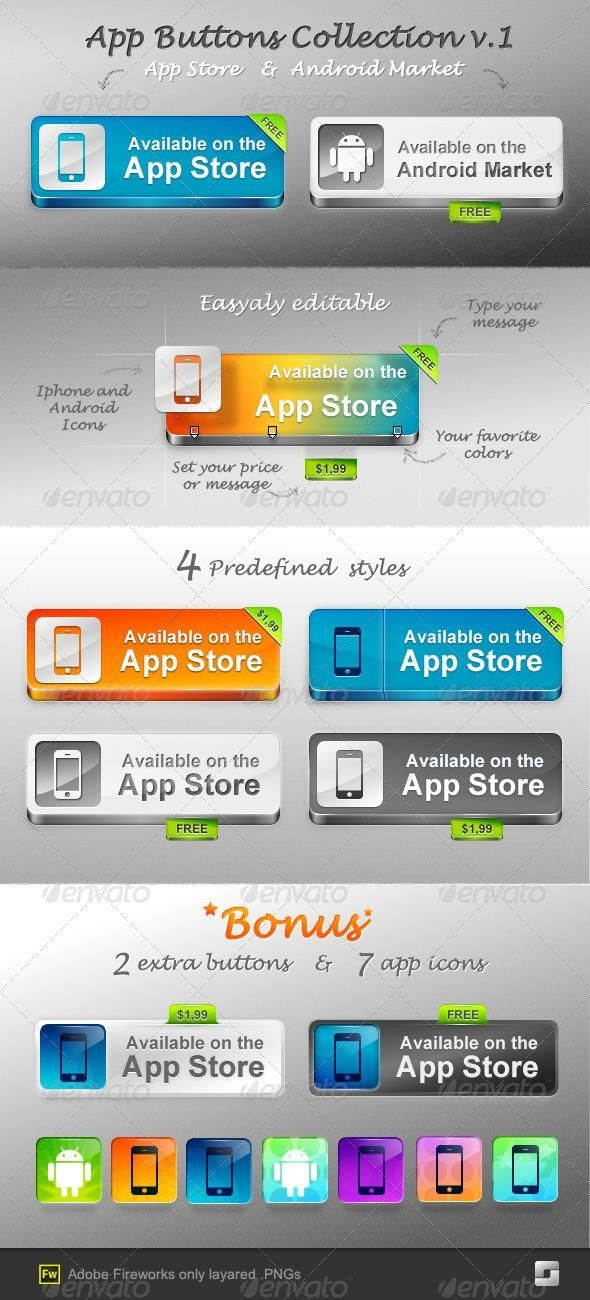 App Buttons for 3 webdesign button GraphicDesign