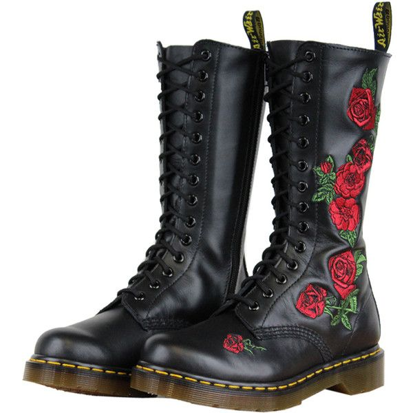 Knee Boots Doc Martens Black Roses Doc Marten Style Liked