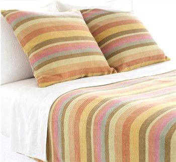 Montego Stripe Chenille Blanket | Melon