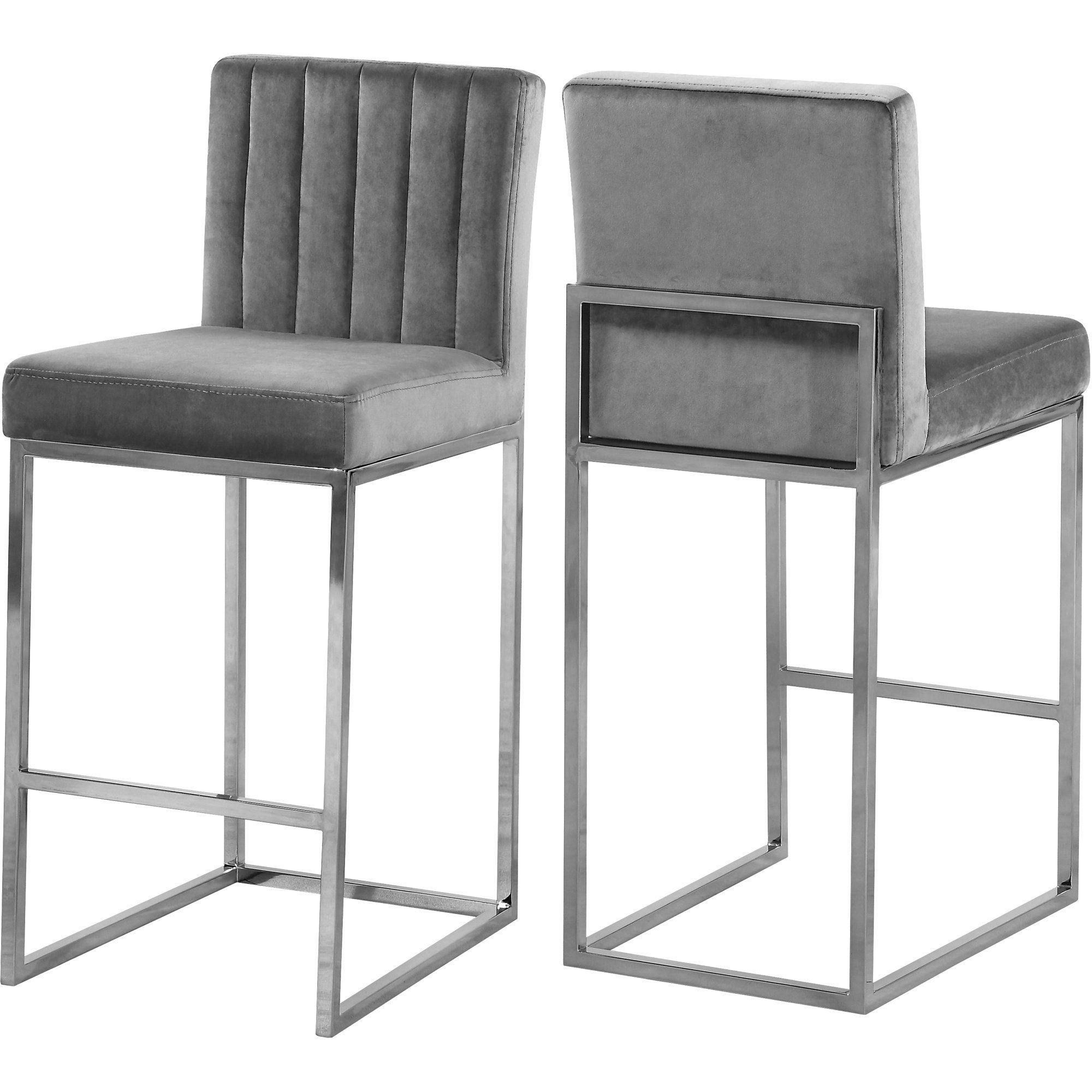 Giselle Grey Velvet Stool Color Grey Velvet Finish Chrome Style Contemporary Walmart Com In 2021 Grey Bar Stools Meridian Furniture Furniture
