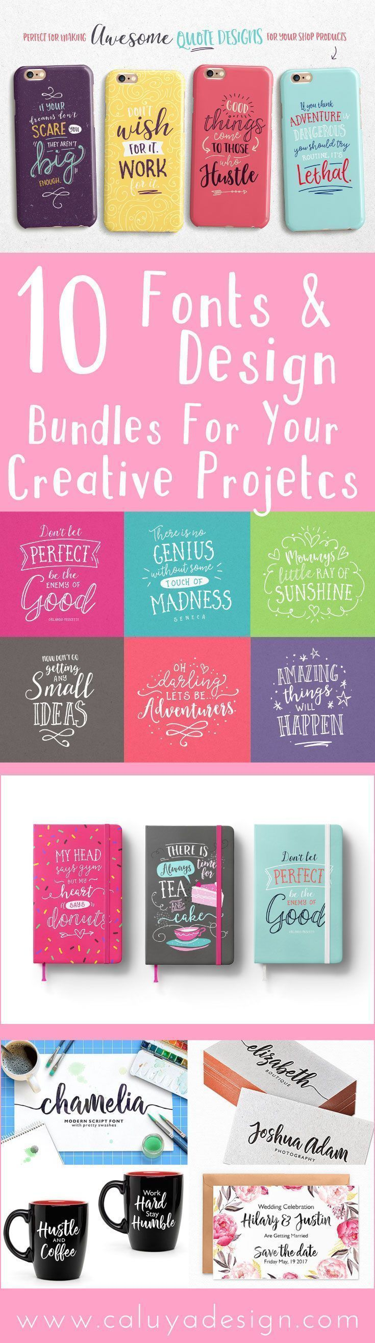 Collection of inexpensive, cheap font bundle & design bundle for creative projects. 10 Super cheap digital font and design bundle deal to spice up your DIY craft projects, DIY banner, cards, project with Cricut, Cameo Silhouette and many more! #craftsprojects