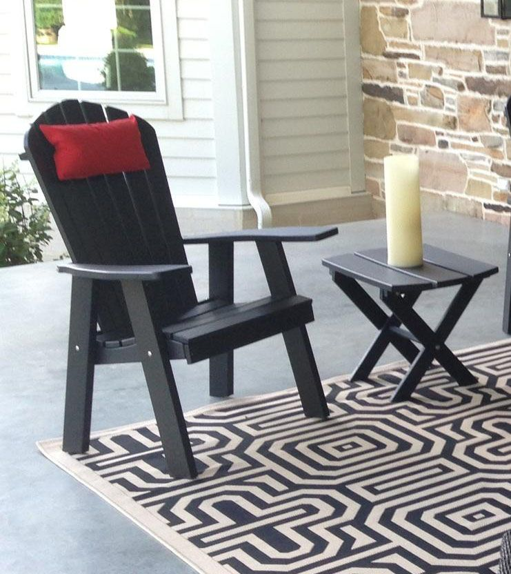 Polywood upright adirondack chair black pictured with for Polywood patio furniture outlet