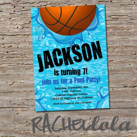 Basketball Pool, Birthday Invitation, Printable,, swim party - birthday invitation swimming party