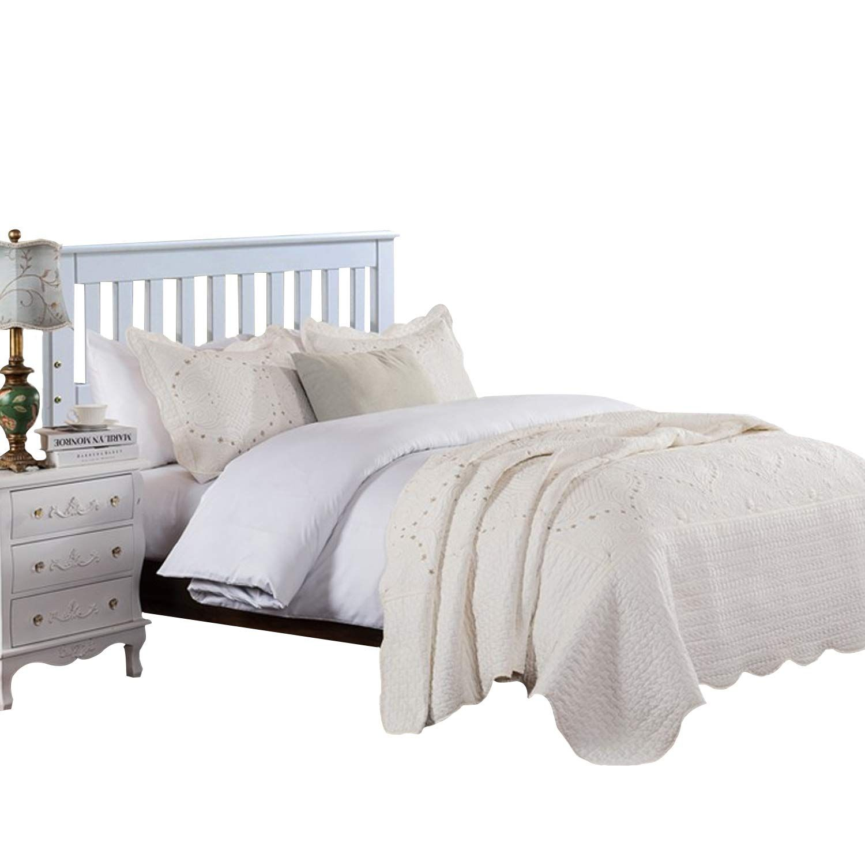 Brandream Romantic Cream White Quilt Set Queen Size Embroidery Bedspread Coverlet Set Vintage Bedding Collection Quilt Sets Queen Quilt Sets Vintage Bedspread
