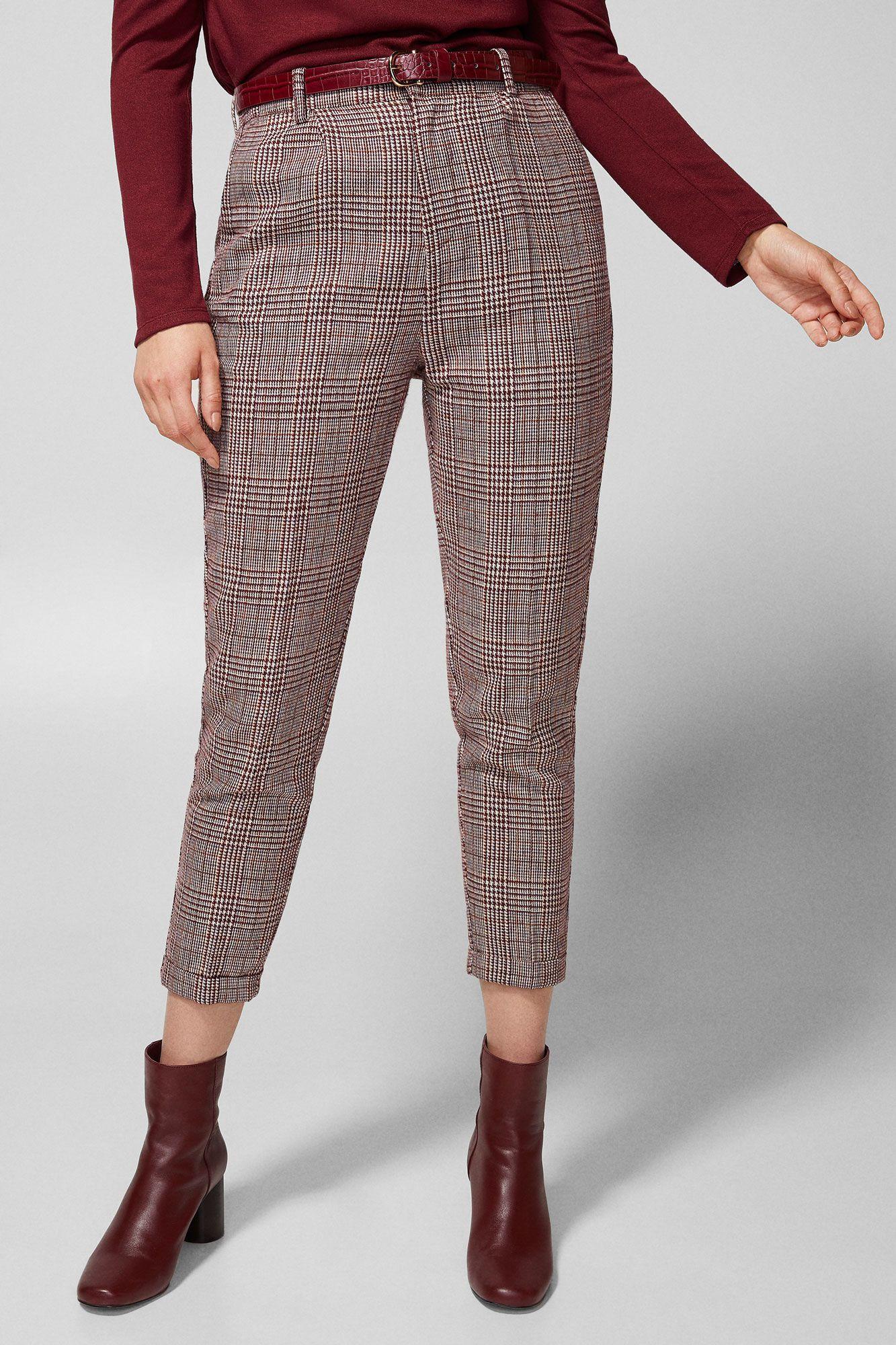 Springfield Pantalon Cuadro Granate Lila Pantalones De Cuadros Pantalones Mujer Ropa De Moda