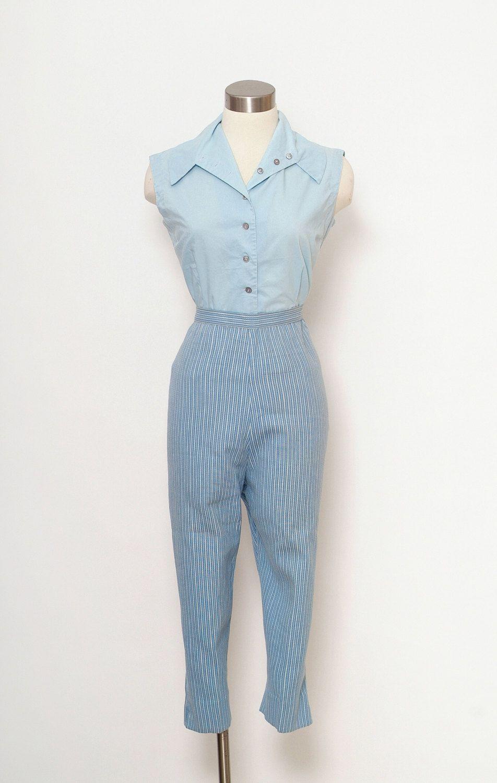 Vintage 50s capri pants   Vintage 50s Womens High Waist Pencil Pants    midcentury Size L-XL  Cigarette Pants   Pin up Rockabilly 60s mad men by ... 5bd55e9160c