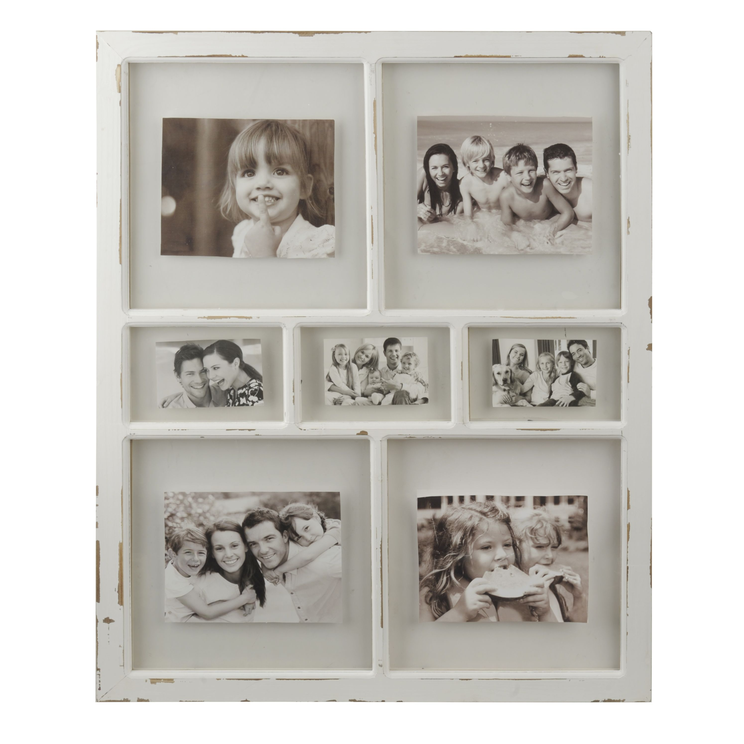 Distressed White Window Pane Collage Frame | Decorative Walls ...