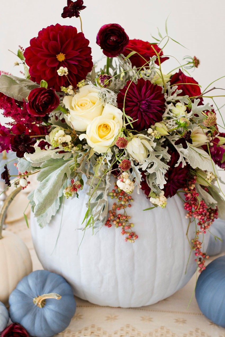 Diy painted pumpkins perfect fall wedding centrepieces Flower painted pumpkins