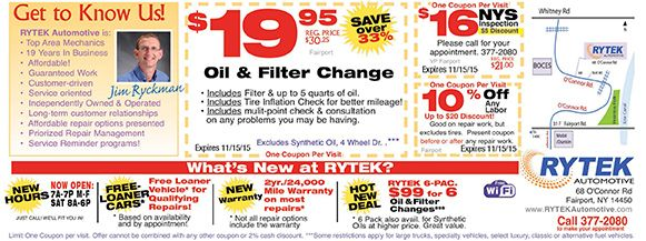 Deals On Oil Changes >> Rytek Automotive With Deals On Oil Changes And Discounts On
