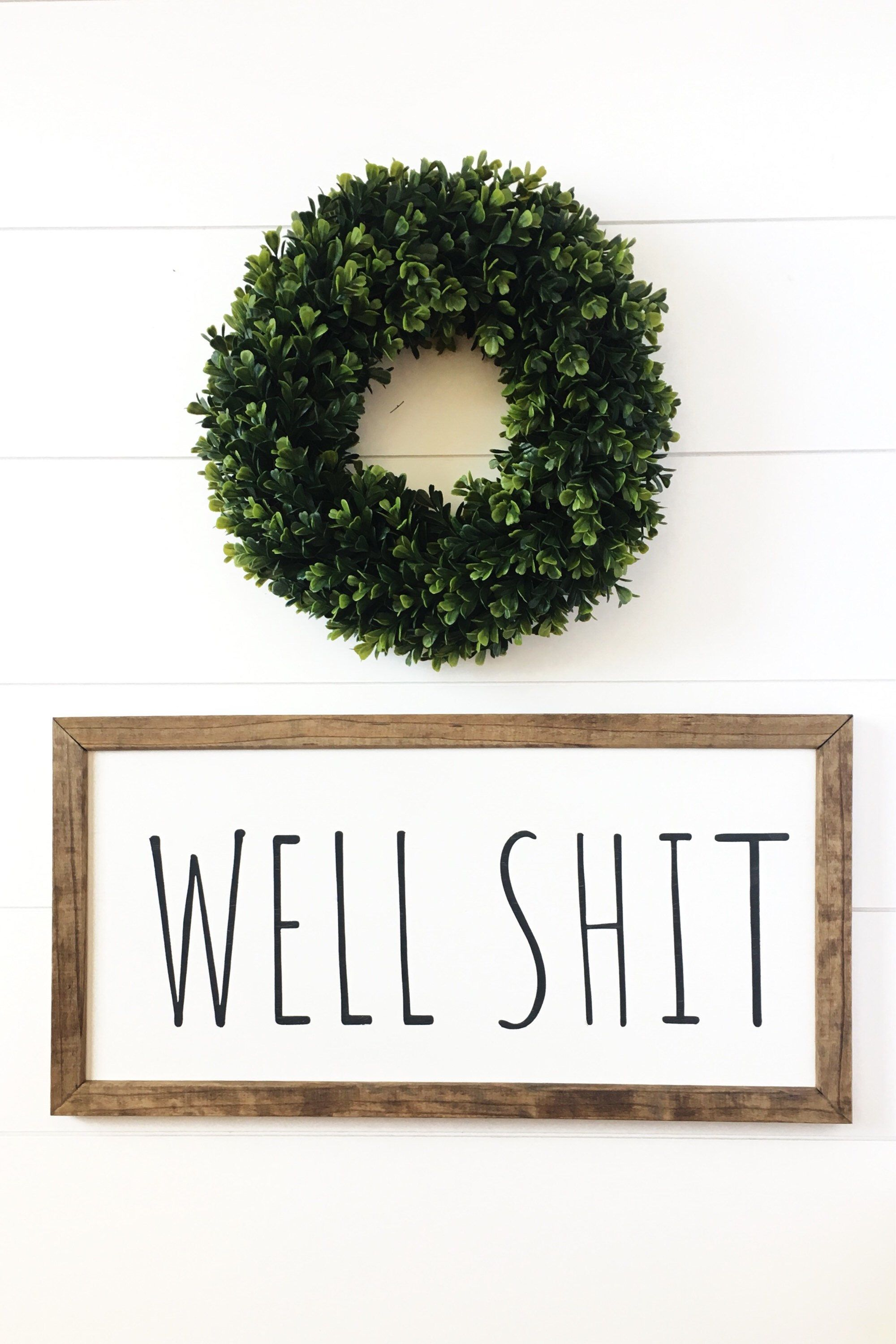 Well Shit Sign, Funny Bathroom Art, Funny Bathroom Signs, Bathroom Wall Decor, Farmhouse Decor, Rustic Home Decor is part of home Furniture Bathroom - charlieandpine
