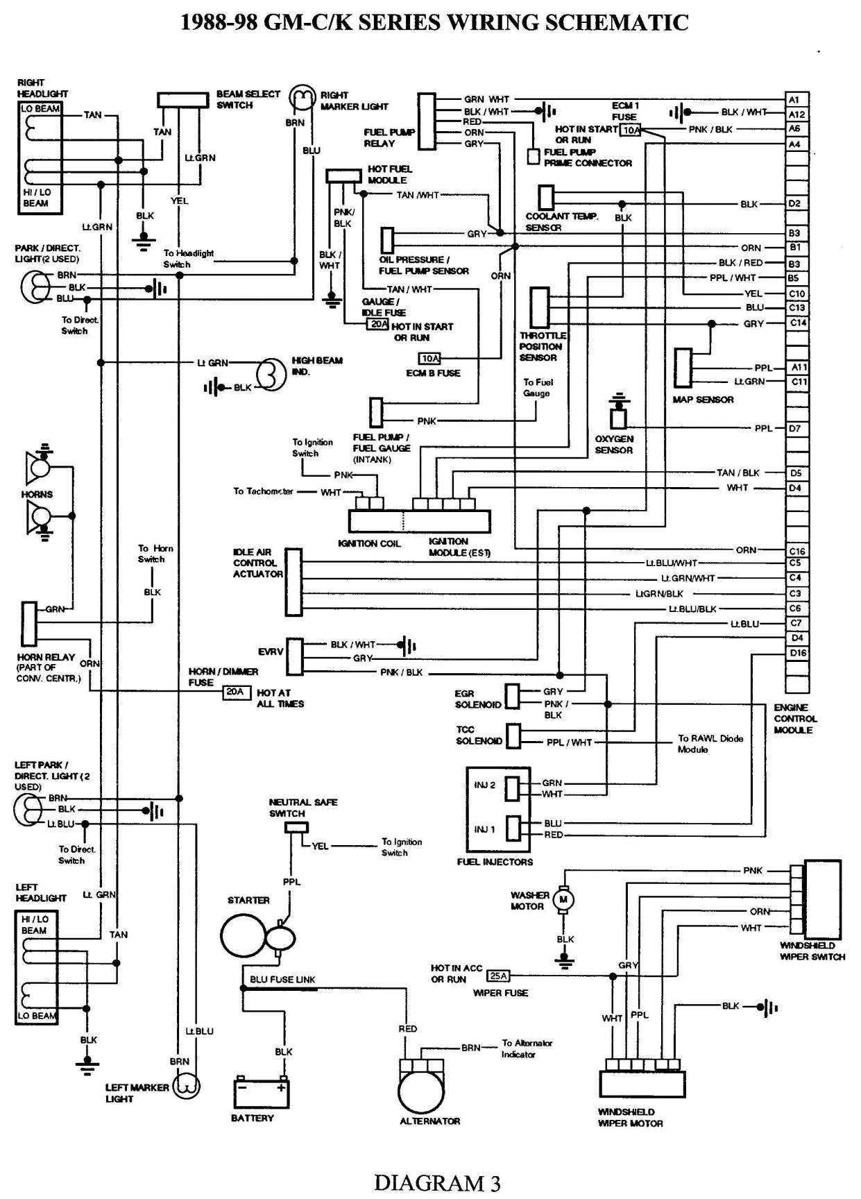 1993 Chevy Truck Wiring Schematic Electrical Diagram Chevy 1500 Electrical Wiring Diagram