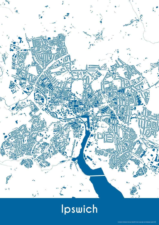 Ipswich Map Buildings Ipswich Print City Map Art of Ipswich