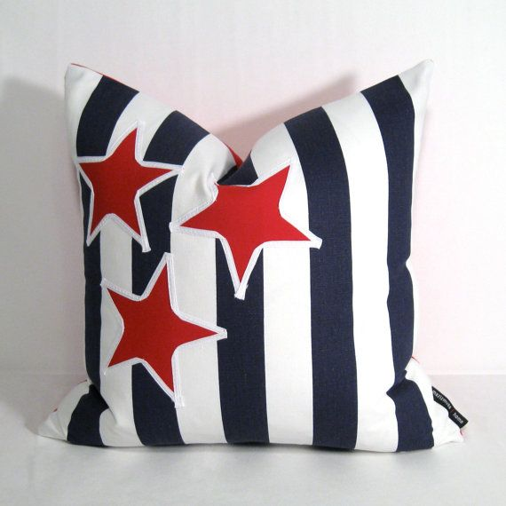 Nautical Pillow Cover Red White Blue Pillow Stars Stripes
