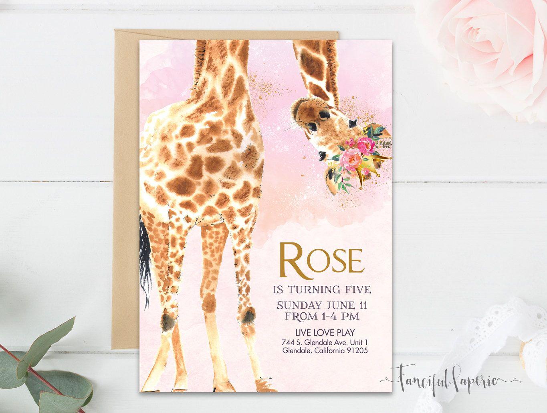 Giraffe Birthday Party Invitation, Giraffe Invite, Magical ...