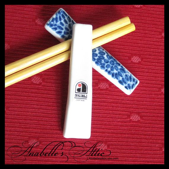 Chopstick Rests / Set of 12 / Blue Flowers on White. $40.00 (With images)   Chopstick rest. Chopsticks. Chopstick