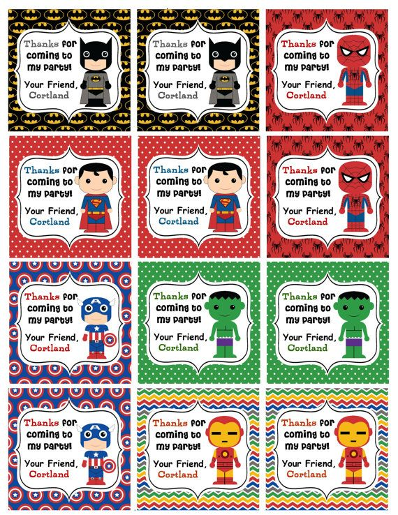Personalized Superhero Birthday Favor Hang Tags by susanefird ...
