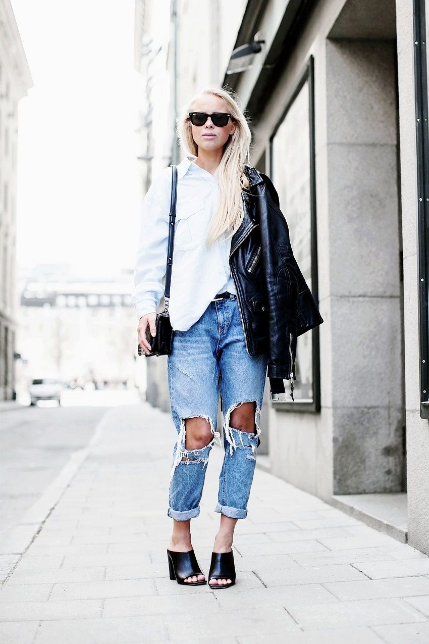 button down shirt, ripped jeans & leather #style #fashion