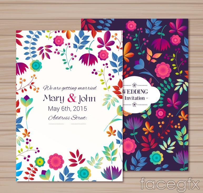 2 cartoon vector flower wedding invitations free vectors 2 cartoon vector flower wedding invitations mexican stopboris Images