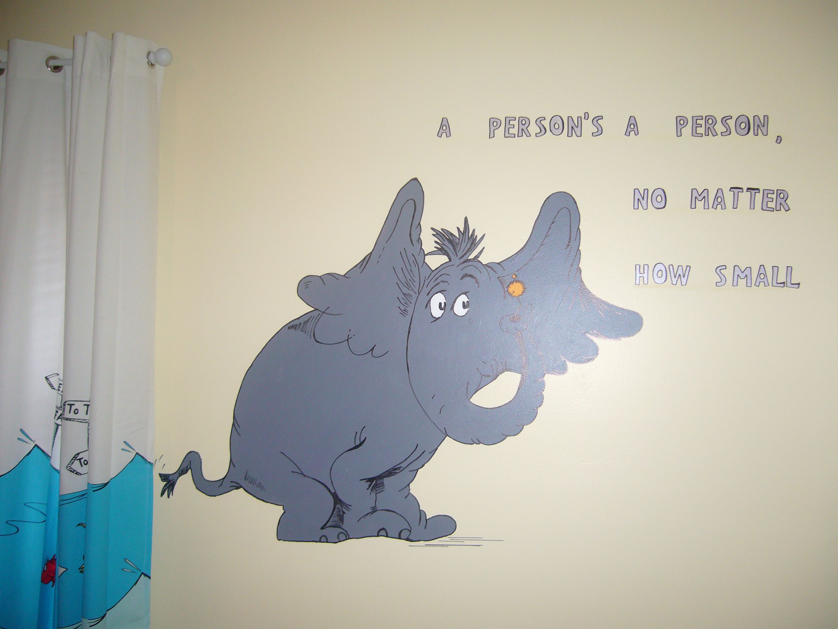 Dr Seuss Horton hand painted mural in kids room with quote ...