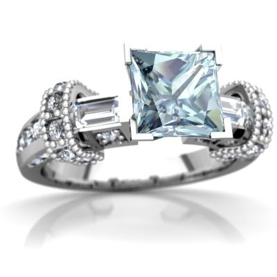 Aquamarine Antique Style 14K White Gold ring R20066SQ - front view