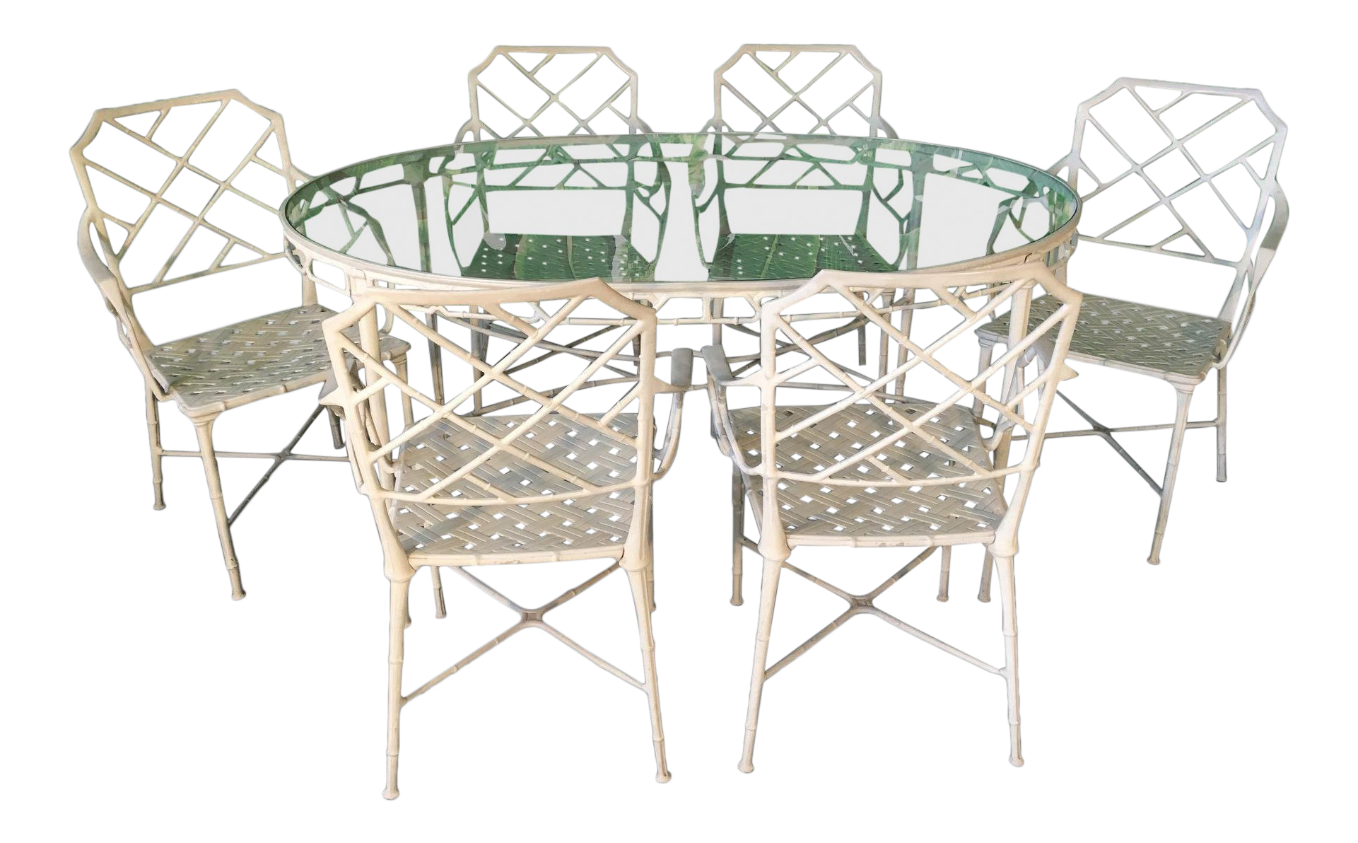 Brown Jordan Calcutta Metal Faux Bamboo Dining Table And Chairs On Chairish Com Dining Table Chairs Brown Jordan Patio Furniture Glass Top Dining Table
