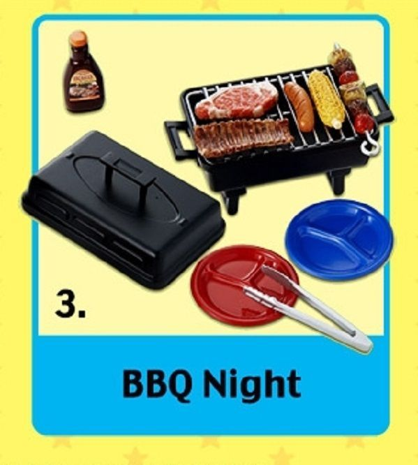 Re-Ment Fun Meals #3, BBQ Night Grill, 1:6 Barbie scale kitchen food minis