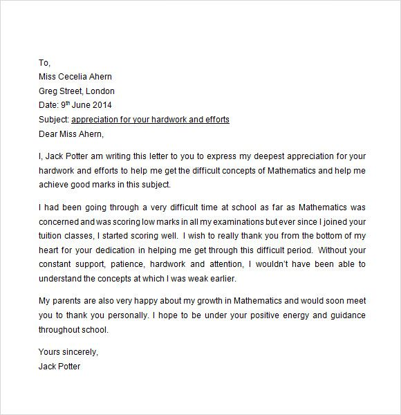 Sample Appreciation Letter Free Documents Download Word How End