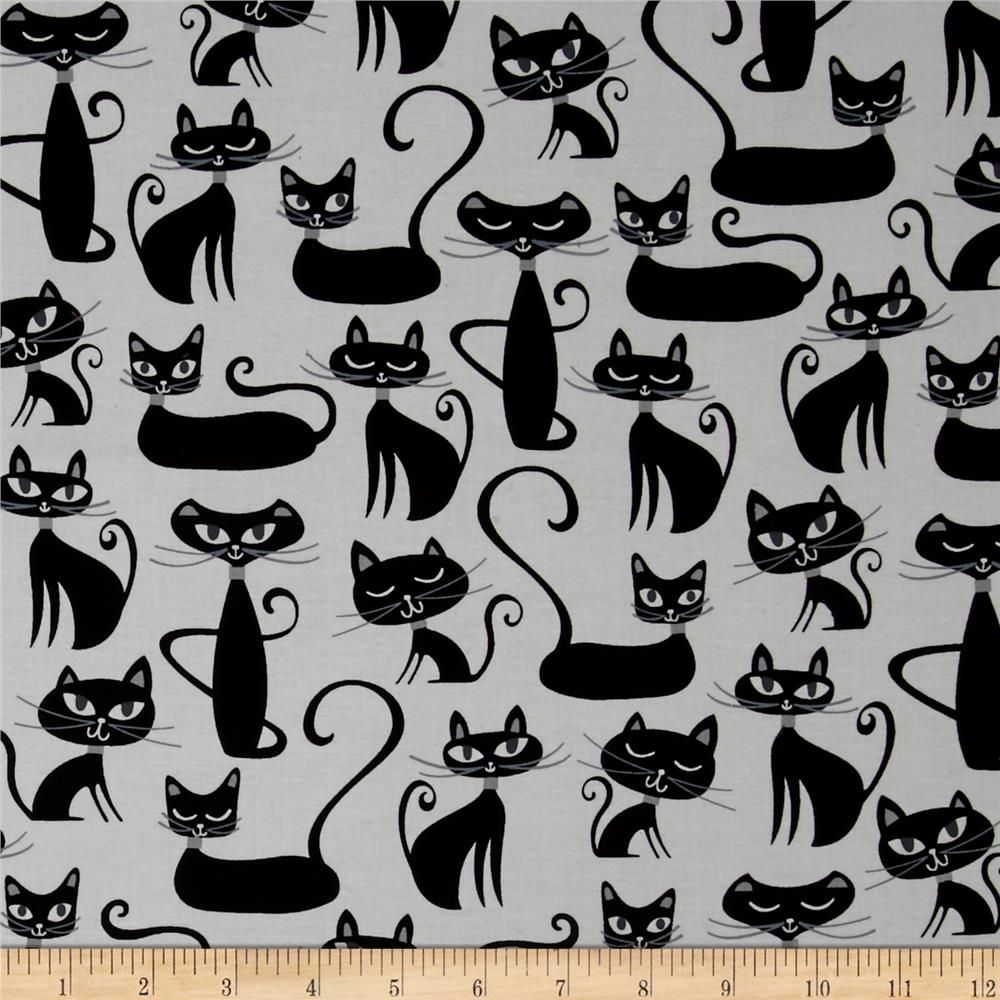 Kaufman Whiskers Tails Cats Allover White Cat Fabric Colorful Interior Design Fabric Wall