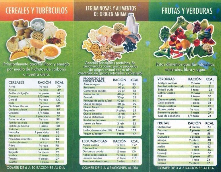 Tabla De Alimentación Plato Del Buen Comer Alimentos Para Adelgazar Frutas Y Verduras