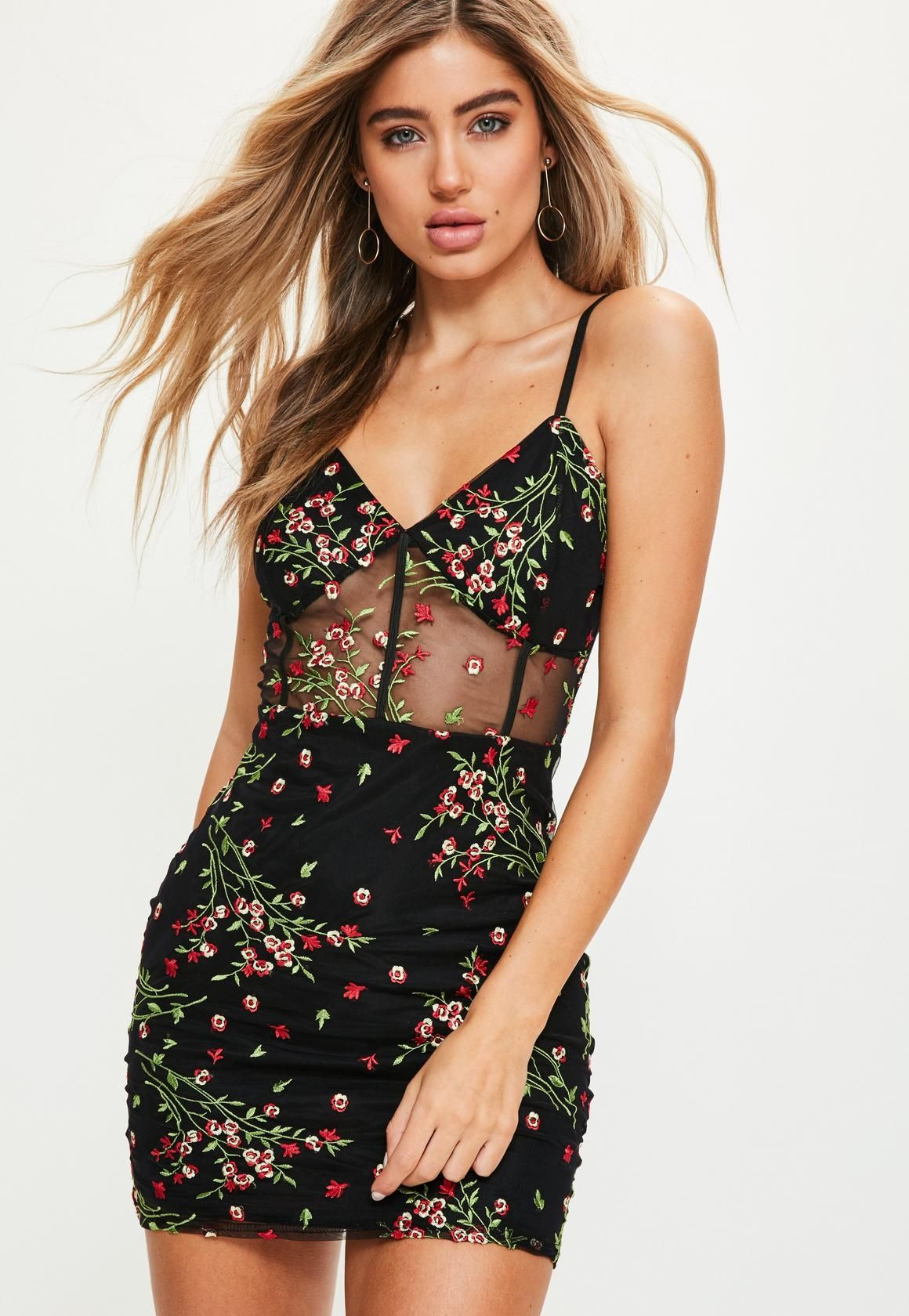 407138d2469 Missguided - Black Mesh Floral Embroidered Strappy Bodycon Dress Day Dresses,  Short Dresses, Prom