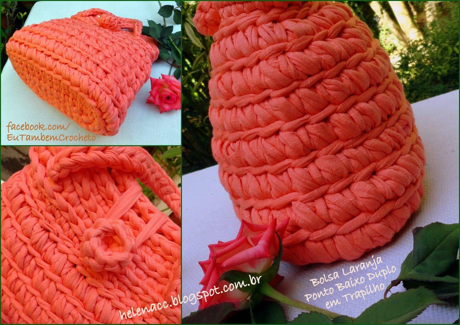 Eu Também Crocheto Bolsa Laranja Em Ponto Baixo Duplo De