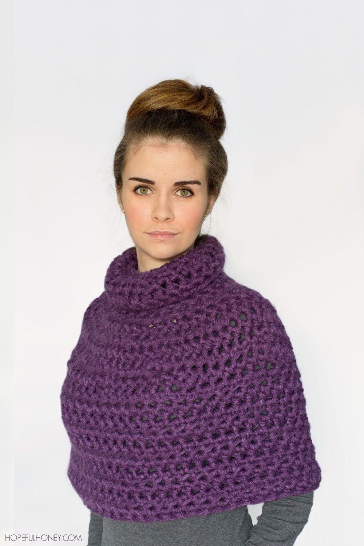 Purple Crochet Capelet Pattern | Stricken und häkeln, Häckeln und Häkeln