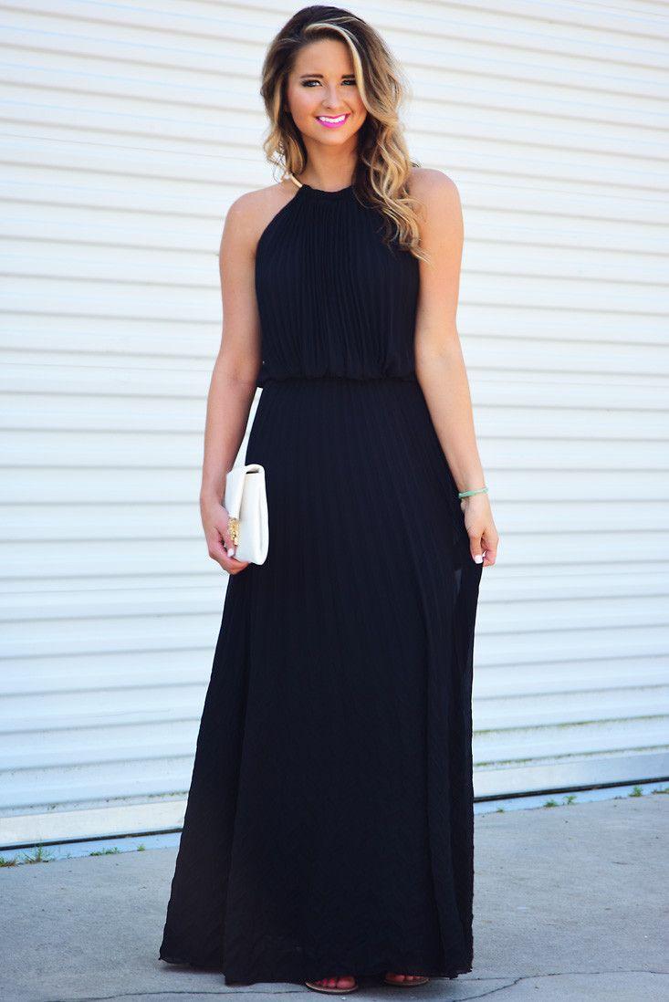 Simple Elegance Maxi Dress: Black/Gold #shophopes