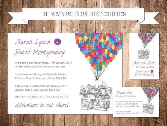 Disney Up Themed Wedding Party Invitation Set disney Pixar