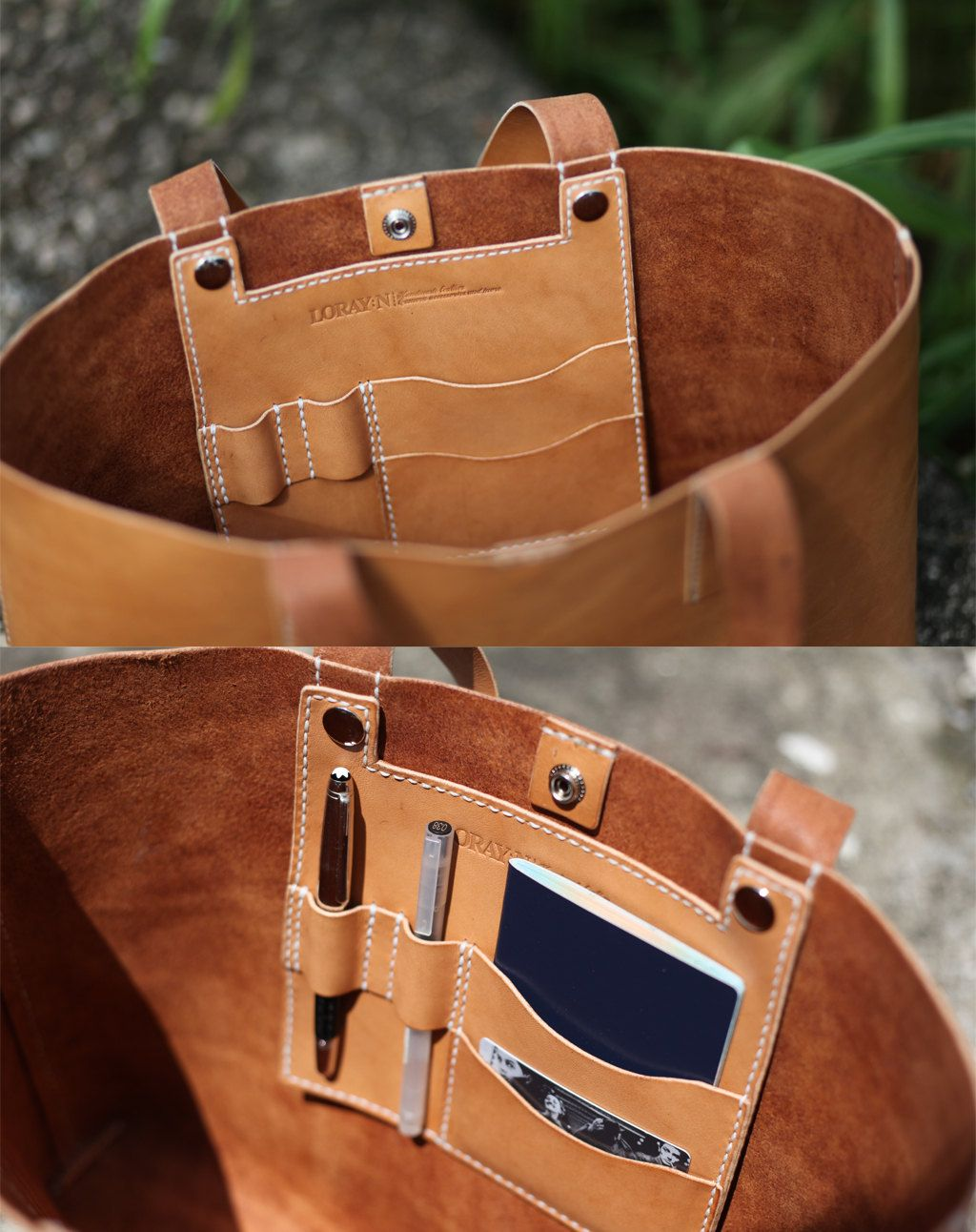 handmade leather tote bag made to order by loraynleather