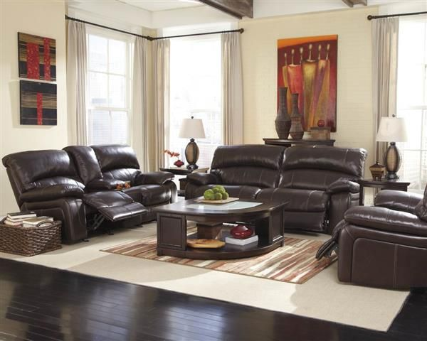 Damacio Dark Brown Leather Living Room Set Living Room Sets