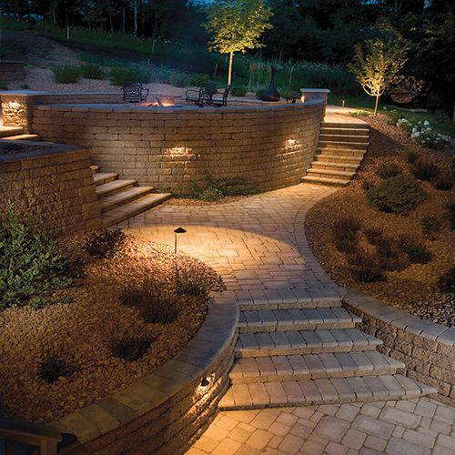 Retaining wall lighting c utare google retaining walls for Landscaping garden walls