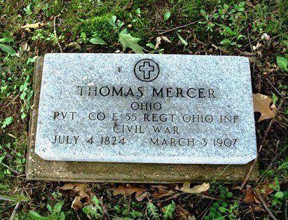 Thomas Mercer (1824-1907)  Company E, 55th Regiment, Ohio Infantry  http://trees.ancestry.com/tree/34912667/person/18718133759