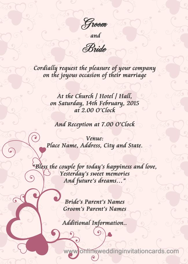 Sample Wedding Card Invitation Wedding Gallery Pinterest - example of invitation letter