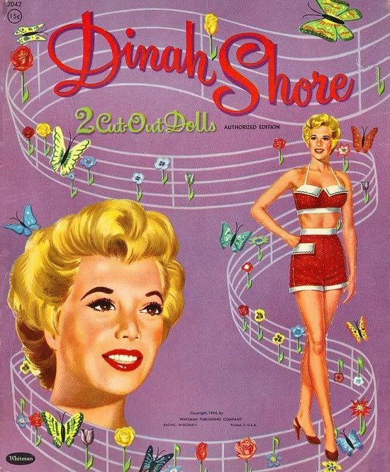 VINTAGE UNCUT 1943 DINAH SHORE PAPER DOLLS~GORGEOUS RARE SET~#1 REPRODUCTION
