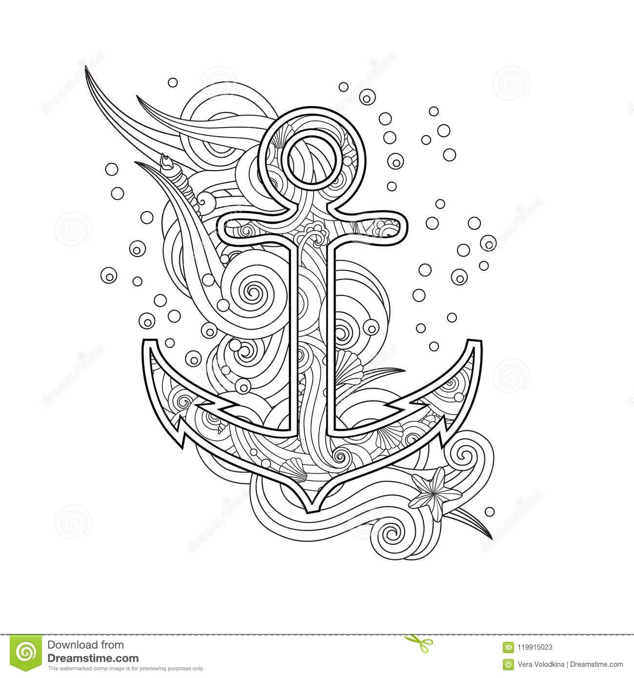 Contour image of anchor in zentangle inspired doodle style