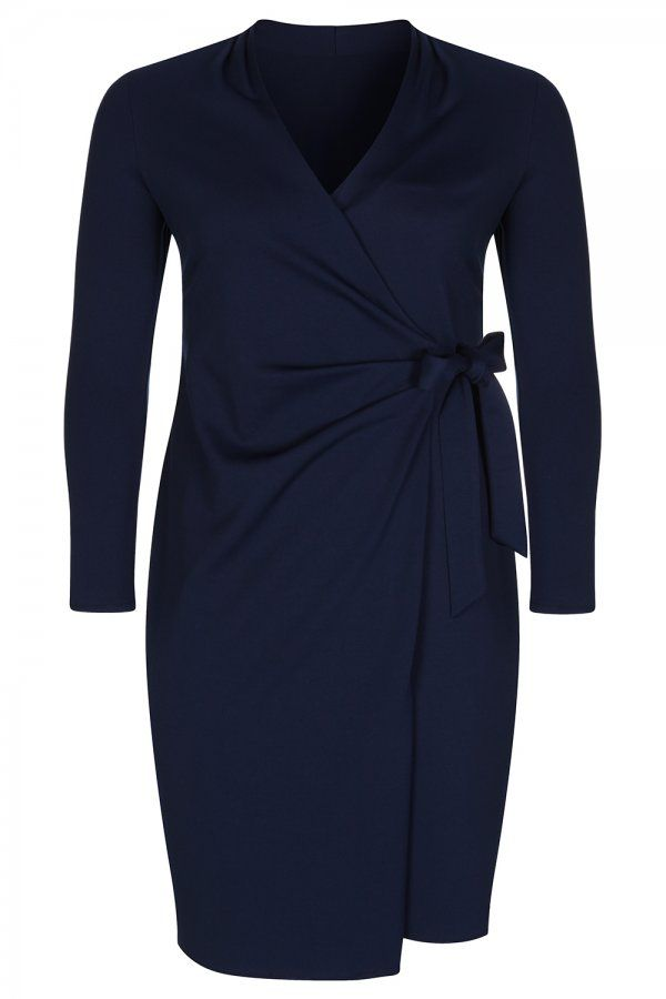 Elvi Navy Jersey Wrap Dress Uk Plus Size Fashion Pinterest